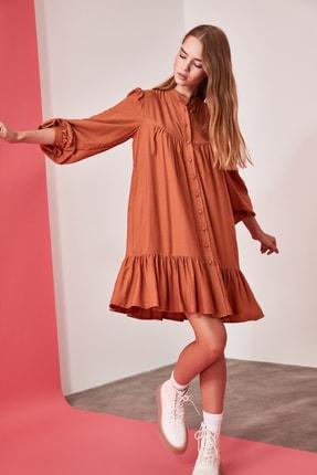 TRENDYOLMİLLA Camel Geniş Kesim Gömlek Elbise TWOAW21EL0169 1
