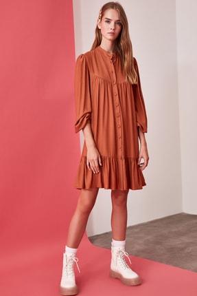 TRENDYOLMİLLA Camel Geniş Kesim Gömlek Elbise TWOAW21EL0169 2