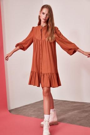 TRENDYOLMİLLA Camel Geniş Kesim Gömlek Elbise TWOAW21EL0169 3