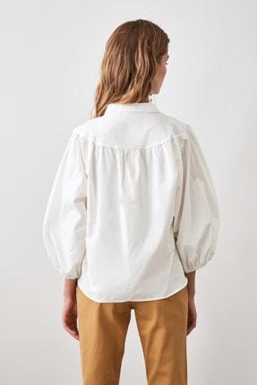 TRENDYOLMİLLA Beyaz Balon Kollu Gömlek TWOAW21GO0353 3