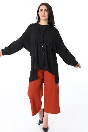 ZİNCiRMODA Kadın Siyah Bel Bağlamalı Arkası Uzun Tunik 1