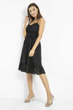 Sateen Kadın Siyah Dantelli Sırtı Açık Elbise 1