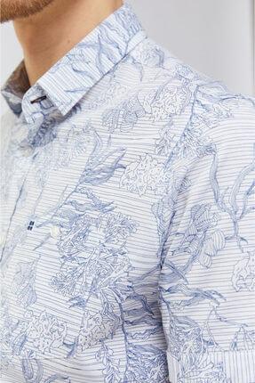 Avva Baskılı Alttan Britli Yaka Slim Fit Kısa Kol Gömlek 1