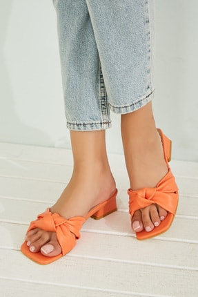 Sateen Kadın Oranj Kısa Topuklu Terlik 0