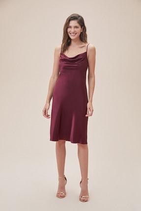 Kadın Şarap Rengi İnce Askılı Midi Boy Saten Elbise DS270106 DS270106_JUNIPER
