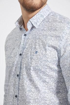 Avva Erkek Açık Mavi Baskılı Alttan Britli Yaka Slim Fit Garnili Gömlek A02Y2070 1