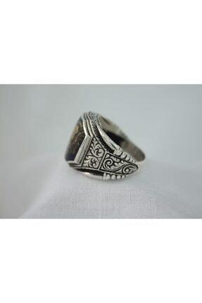 GİZA SİLVER Osmanlı Sancağı Mineli Işlemeli Sekizgen 925 Ayar Gümüş Erkek Yüzük 2