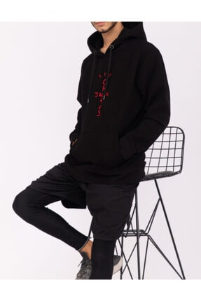 World Travis Erkek Siyah Jack Cactus Detaylı Nakışlı Hoodie  Sweatshirt 1