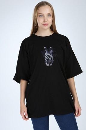 Millionaire Siyah Victory Baskılı Oversize T-shirt 1