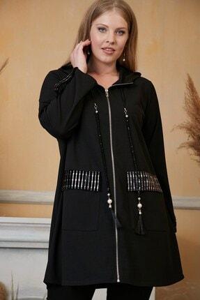Kadın Siyah Cep Detaylı Fermuarlı Büyük Beden Hırka resmi