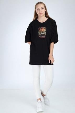 Millionaire Kadın Siyah To Wear Boring Baskılı Oversize T-Shirt 3