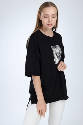 Millionaire Kadın Siyah Yırtmaçlı Kuru Kafa Baskılı Oversize Tshirt 2