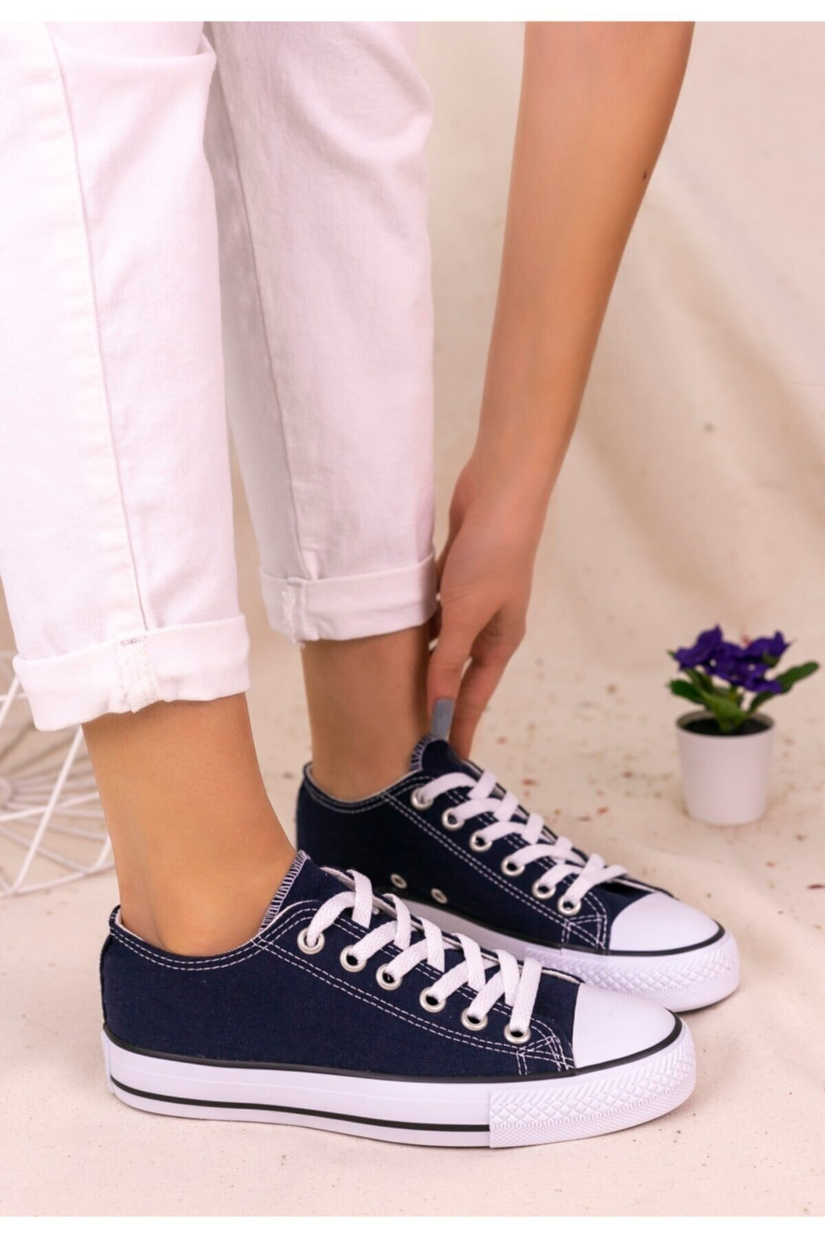 Trendypazar Kadın Lacivert Keten Spor Ayakkabı