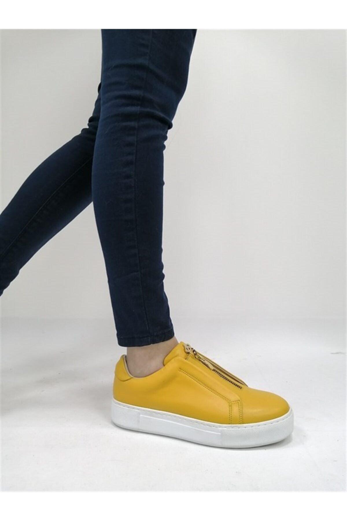 BALLERINS BALLERIN'S Kadın Sarı Hakiki Deri El Yapımı Spor Ayakkabı Blrs-259