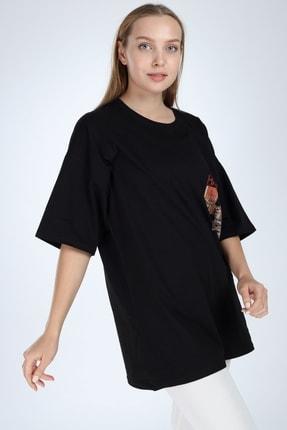 Millionaire Siyah Harlem Baskılı Oversize T-shirt 3