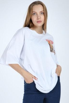 Millionaire Beyaz Harlem Baskılı Oversize T-shirt 0