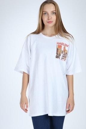 Millionaire Beyaz Harlem Baskılı Oversize T-shirt 2