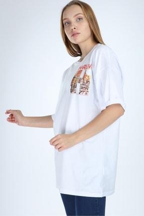 Millionaire Beyaz Harlem Baskılı Oversize T-shirt 3