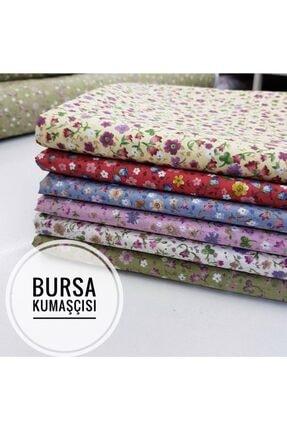 Bursa Kumaşçısı Çıtır Çiçek Desenli Poplin Kumaş Krem Zemin 3