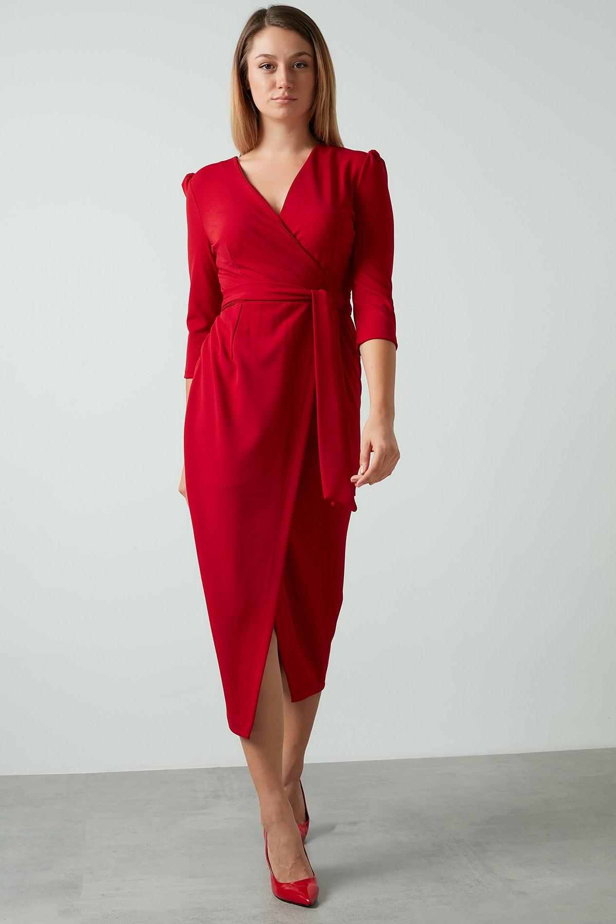 Kadın Kırmızı Kuşaklı Kruvaze Elbise