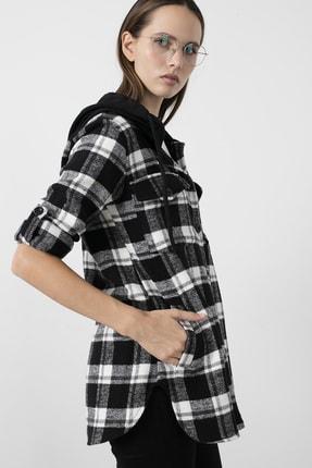 Lela Kadın Siyah Ekoseli Kapüşonlu Oduncu Gömlek  59120921ekose 1