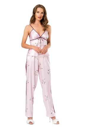 MOONGIRL Kadın Üçlü Saten Pijama Takım 1