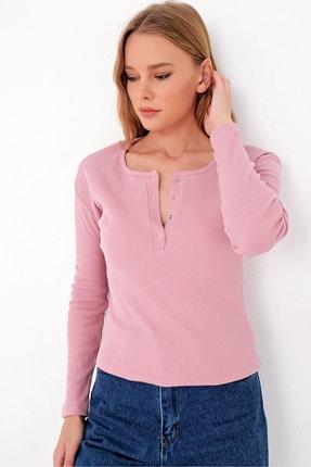Trend Alaçatı Stili Kadın Pudra Pembe Çıtçıtlı Kaşkorse Bluz MDS-345-BLZ 3