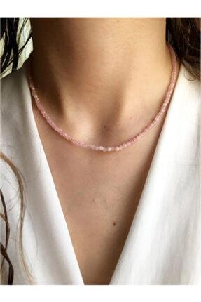 Serline Desing Kadın 925 Ayar Gümüş Patentli Ince Pembe Kuvars Doğaltaşlı Gümüş Kolye 0