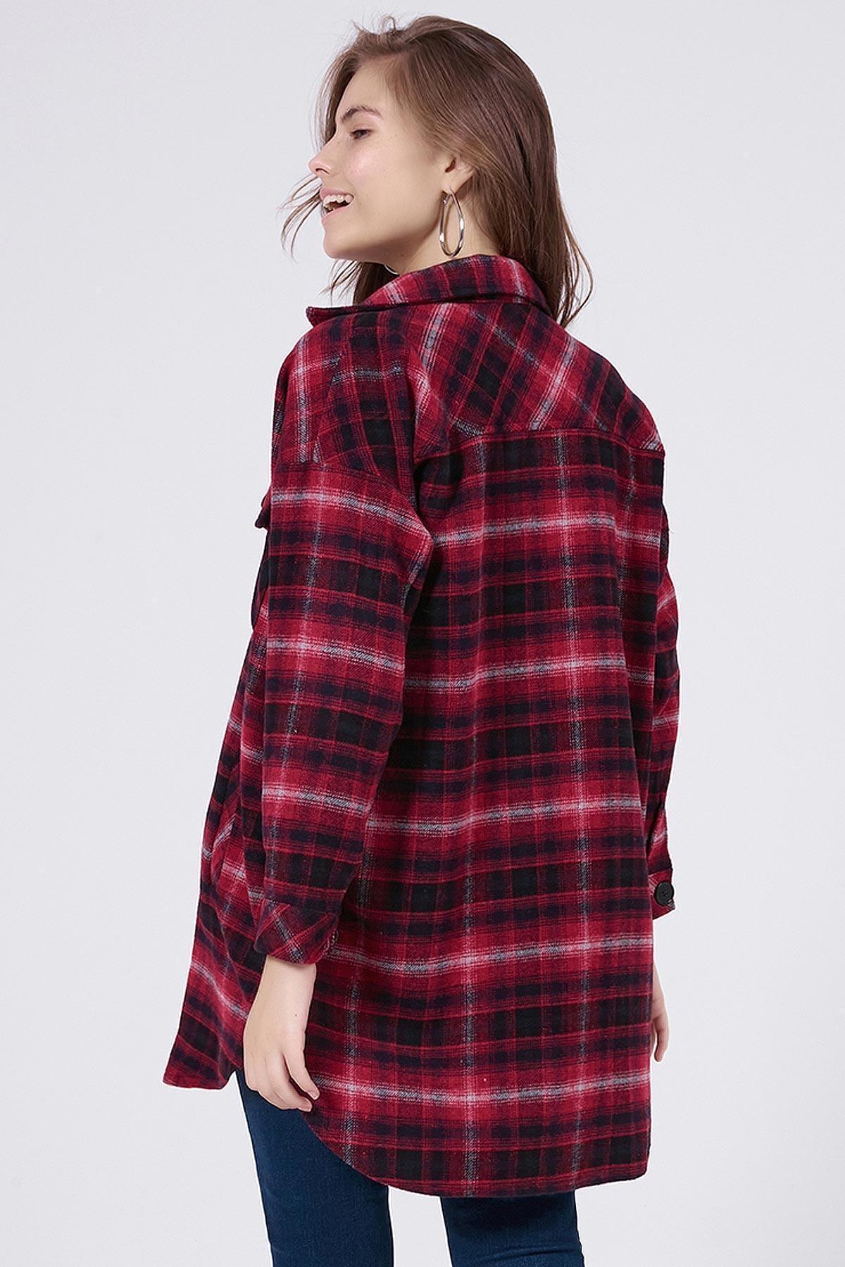 Y-London Kadın Kırmızı Ekoseli Uzun Oduncu Gömlek Ceket Y20W176-11228-1 3