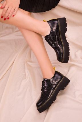 Soho Exclusive Siyah Kroko Kadın Casual Ayakkabı 15609 1