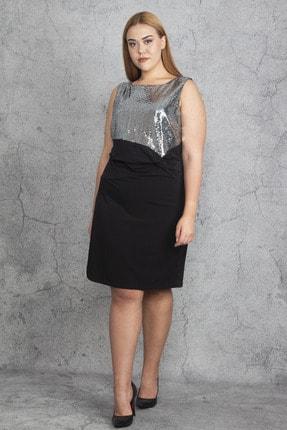 Şans Kadın Siyah Payet Ve Bel Bel Detaylı Elbise 65N19197 1