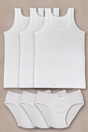 PRENS Erkek Çocuk Beyaz 3lü Paket Atlet Külot Takım 1250p3 0