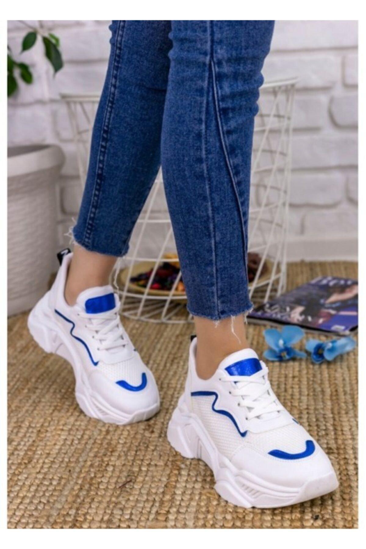 Vira Kadın Beyaz Cilt Fileli Mavi Detaylı Spor Ayakkabı