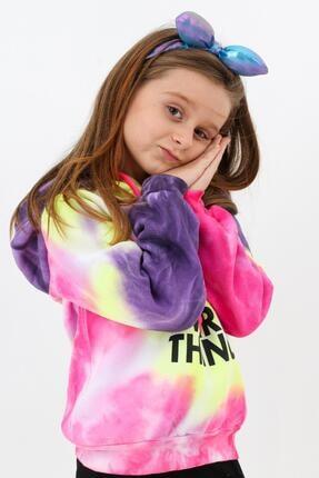 Enisena Mor Kız Cocuk Yıkamalı Kapşonlu Sweatshirt 2