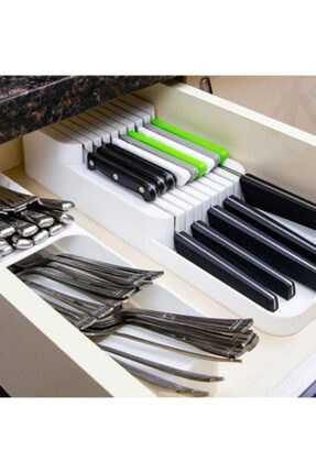 Morpanya Çekmece İçi Kaşıklık ve Bıçaklık Seti Mutfak Çekmece Düzenleyici Organizer Beyaz 3