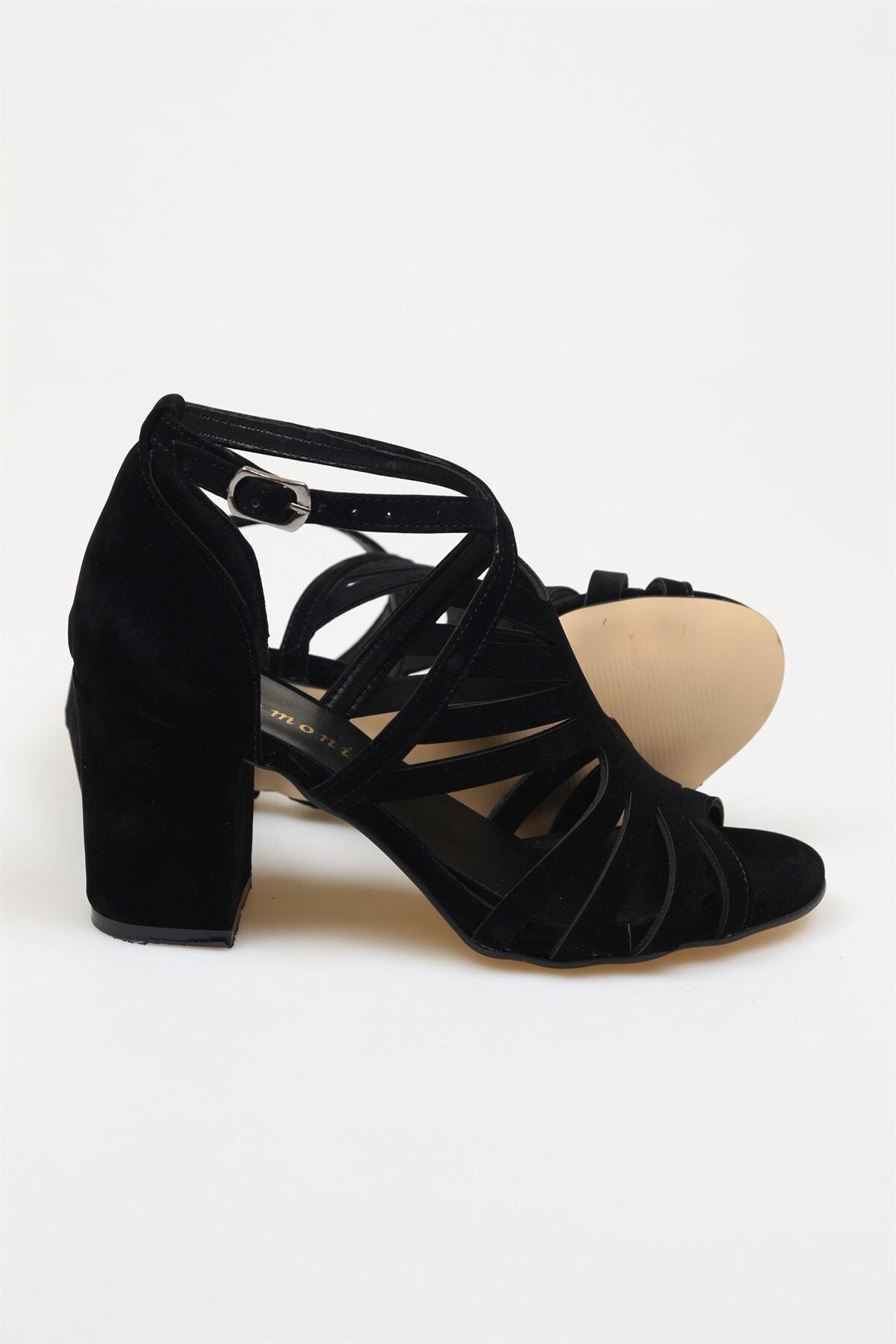 Birikon Kadın Siyah Süet Topuklu Ayakkabı