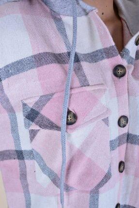 butikburuç Kadın Pudra Gri Kapşonlu Oduncu Gömlek 4
