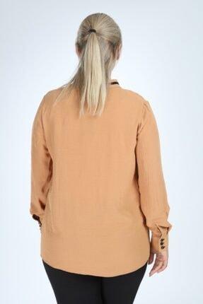 Lir Kadın Büyük Beden Uzun Kol Biyeli V Yaka Bluz Vizon 3