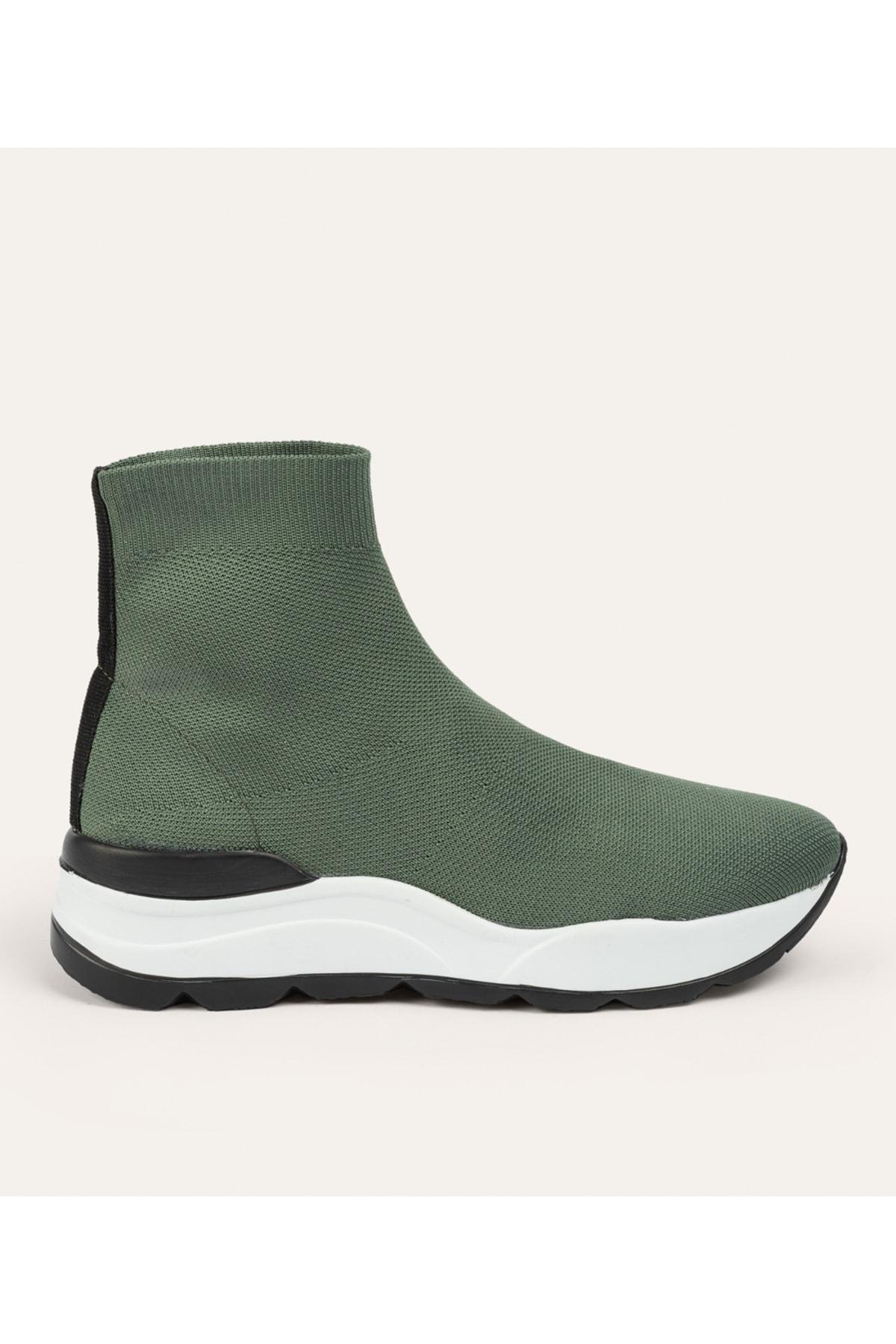Kadın Haki Kalın Tabanlı Çorap Sneaker