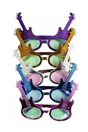 Pandoli Yeşil Renk Rockn Roll Retro Gitar Şekilli Parti Gözlüğü 0