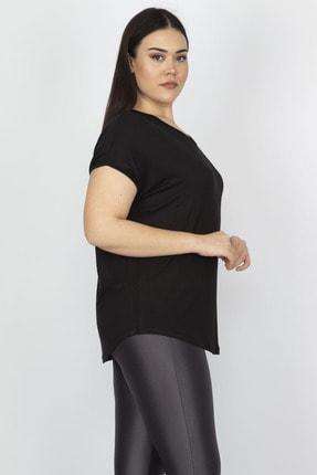 Şans Kadın Siyah Sırt Detaylı Viskon Bluz 65N15183 2