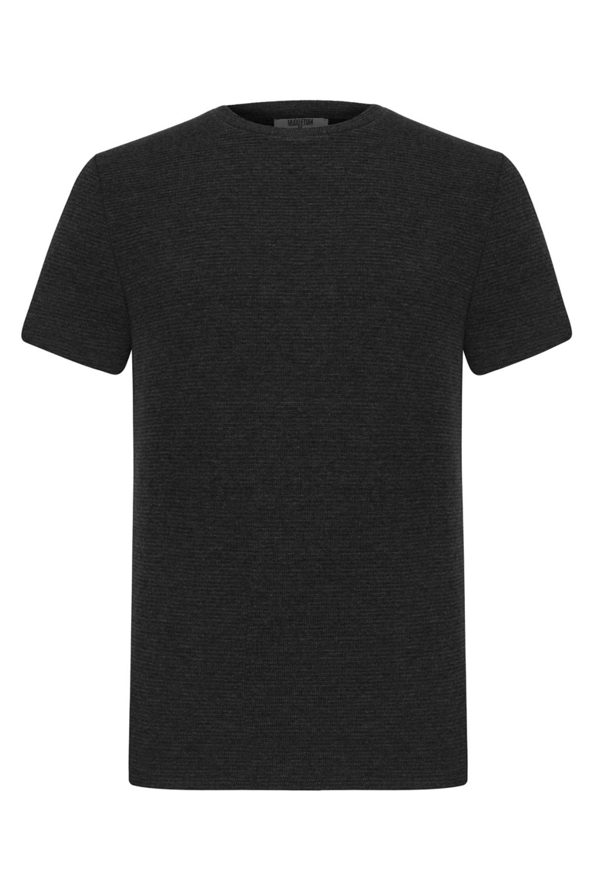 Erkek Gri Melanj Bisiklet Yaka Basıc T-Shirt 375654