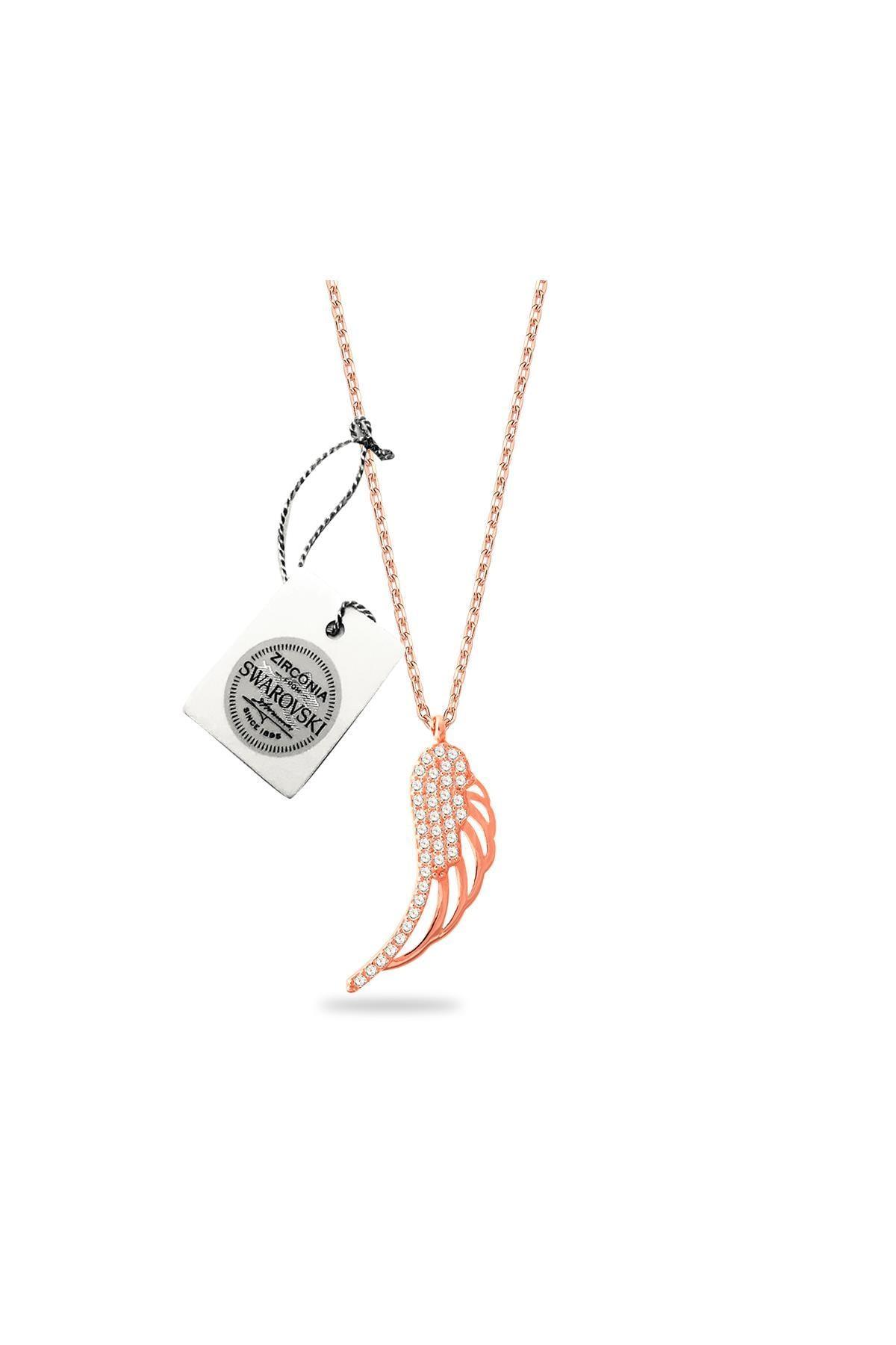 Ninova Silver Kadın Swarovski Taşlı Melek Kanadı Model Rose Kaplama Gümüş Kolye SBS0032 2