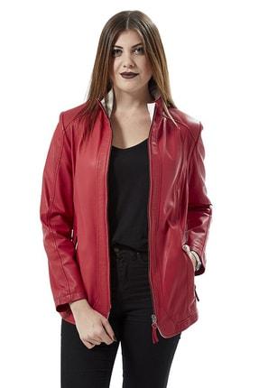 Deriza Kadın Dorette Kırmızı Deri Ceket 2075 1
