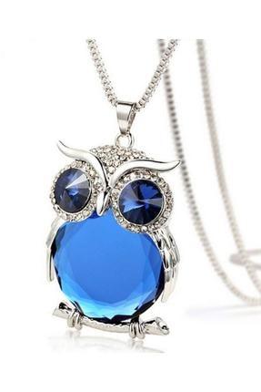 Chavin Özel Avusturya Kristali Mavi Taş Büyük Baykuş Bayan Kolye dm55mv 0