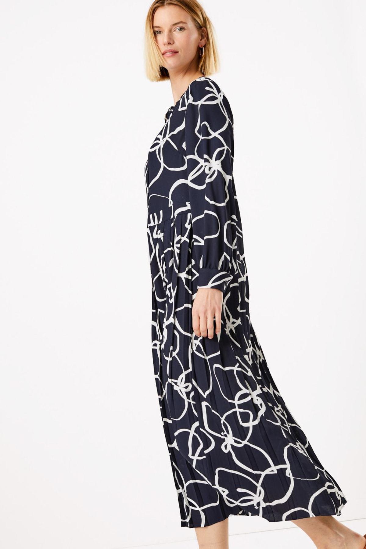 Kadın Lacivert Çiçek Desenli Relaxed Midi Elbise T42007609