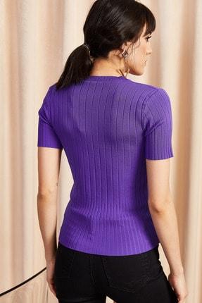 Olalook Kadın Mor V Yaka Yazlık Triko T-Shirt BLZ-19000864 3