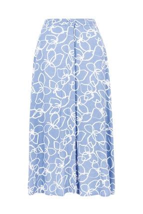 Marks & Spencer Kadın Mor Çiçek Desenli Düğmeli Midi Etek T59007245 4