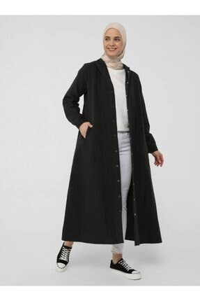 Picture of Kadın Siyah Paraşüt Kumaş Kapüşon Ve Çıtçıt Detaylı Kap