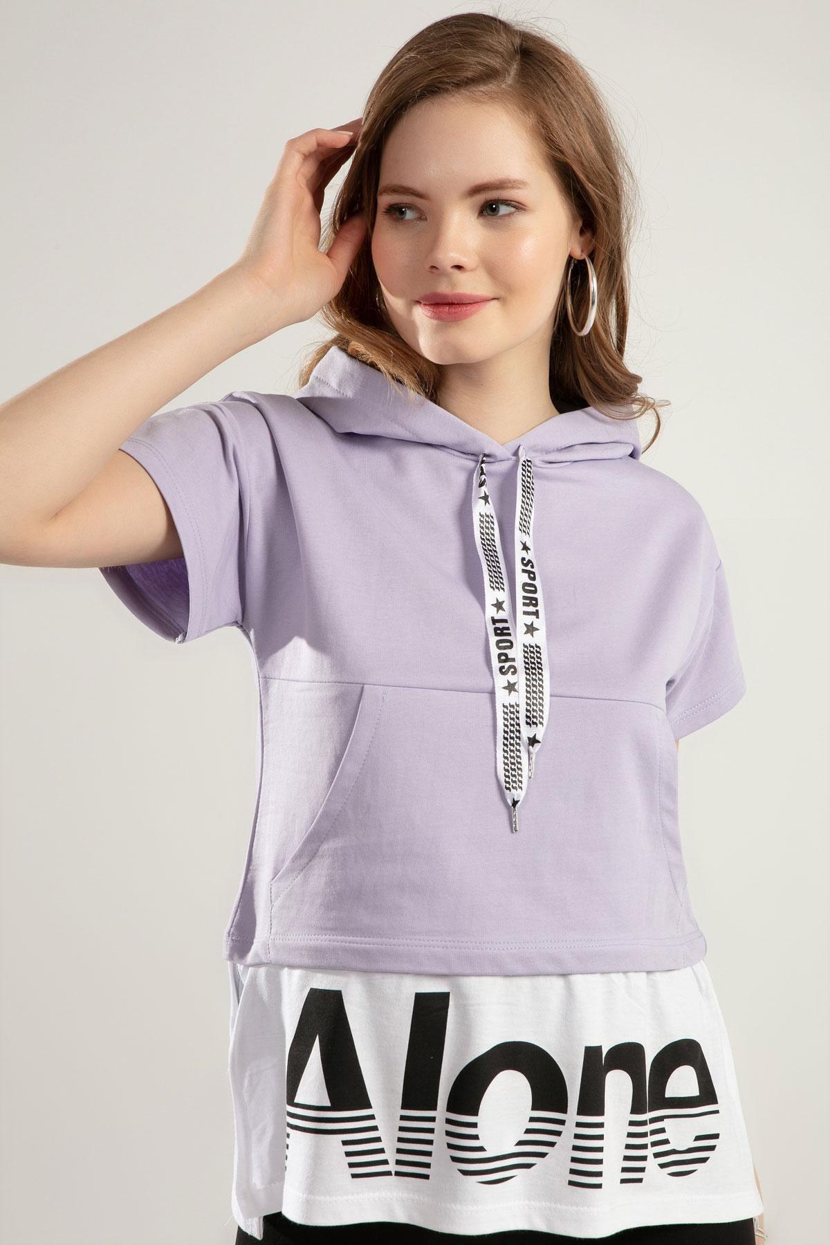 Kadın Baskılı Kısa Kollu Örme Sweatshirt Y20s110-4143